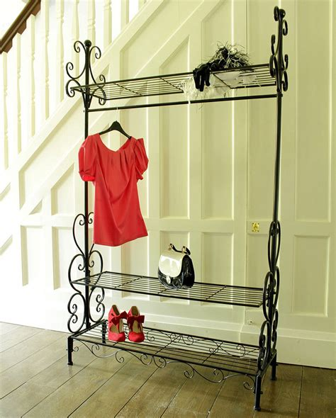 bedroom clothes black metal clothing rail vintage chic clothes wardrobe