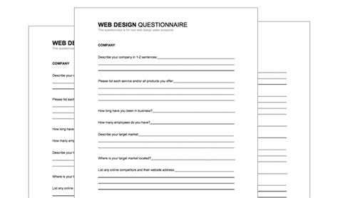new customer questionnaire template free web design client questionnaire