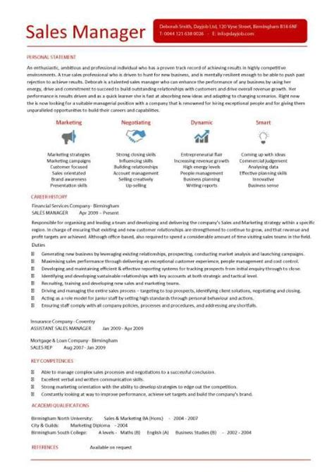 resume sles for sales manager cv template exles writing a cv curriculum vitae