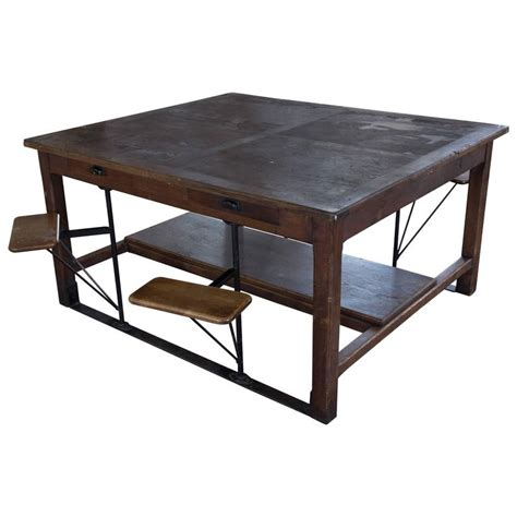 swing table l large french industrial table with swing out attached