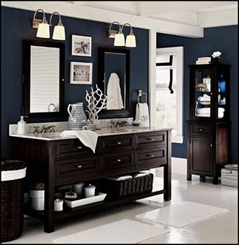 dark blue bathroom vanity cabinet i love that dark blue wall color for the home