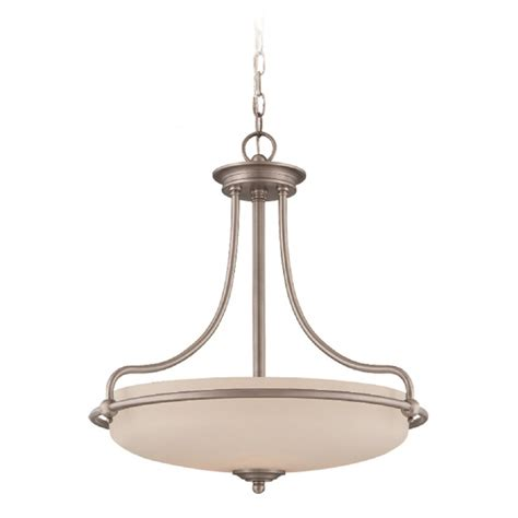 Art Deco Ceiling Pendant In Antique Nickel With Opal Glass Deco Style Ceiling Lights