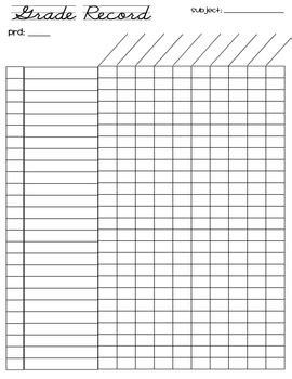 Free Grade Record Sheet 26 Students By Adrienne Wiggins Tpt Grade Sheet Template