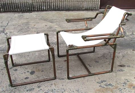 copper pipe furniture copper pipe chair and ottoman at 1stdibs