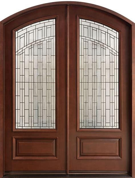Front door custom double solid wood with dark mahogany finish