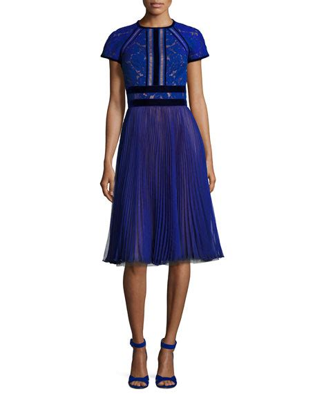 Sleeve Pleated Chiffon Dress tadashi shoji cap sleeve lace cocktail dress w pleated