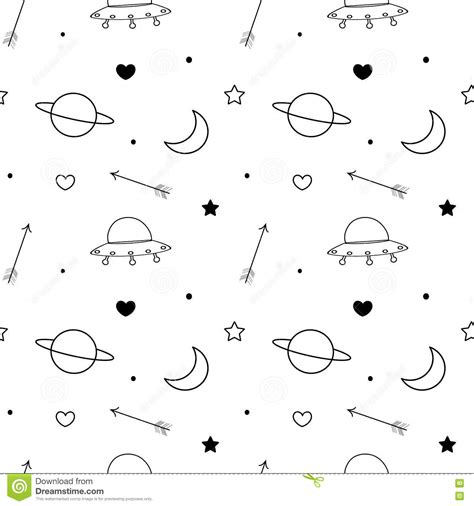 moon and doodle seamless pattern with doodle space elements vector