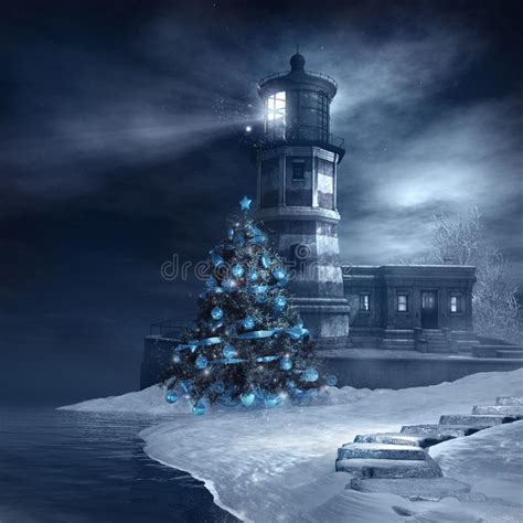 lighthouse and christmas tree stock illustration