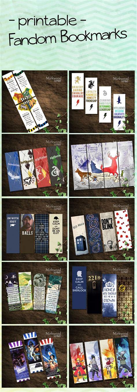 printable geek bookmarks printable fandom bookmarks great geek gift harry potter