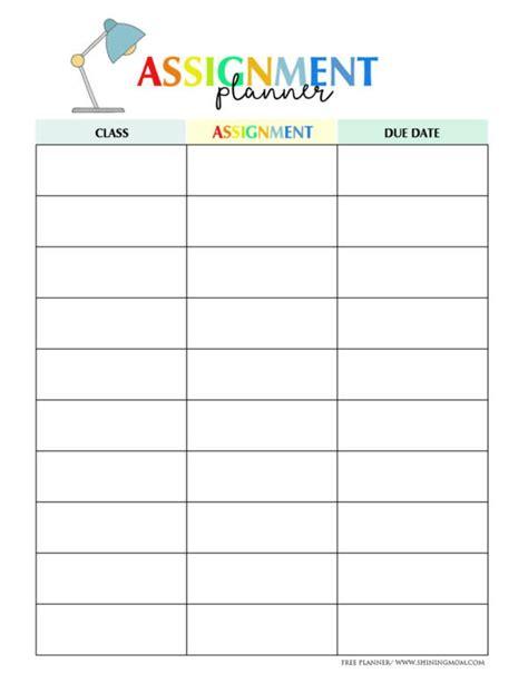 homework planner samples  templates   ms