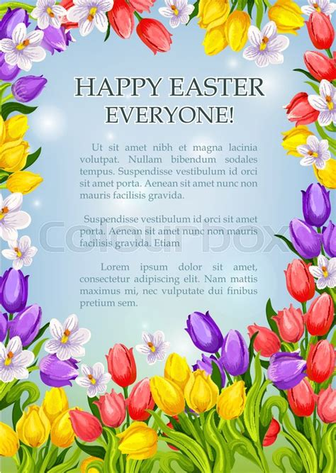 catholic easter card template happy easter poster template of springtime flowers tulips