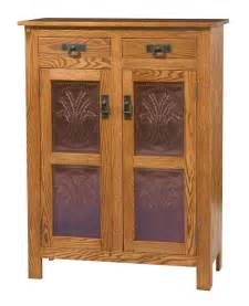 Mission Style Kitchen Cabinet Doors Amish Mission Style Two Door Cabinet With Copper Paneling