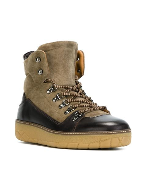 mens moncler boots moncler egide leather and suede boots in brown for lyst
