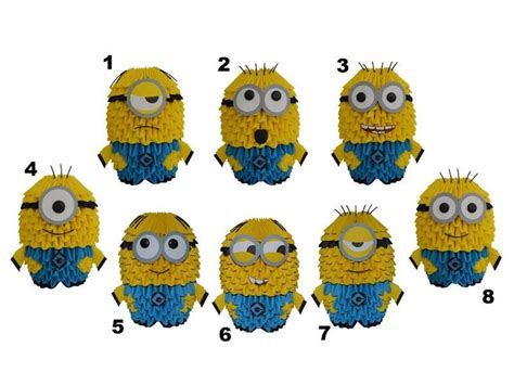 How To Make Paper Minions - origami minion expressions origami 3d