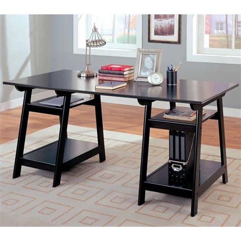 desks home office furniture coaster desks casual pedestal trestle desk with open shelves in black 800361