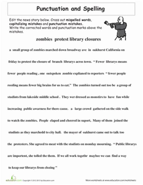 Punctuation Worksheets High School by Proofreading Practice Punctuation And Spelling