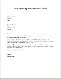 holiday closing announcement letter writelettercom