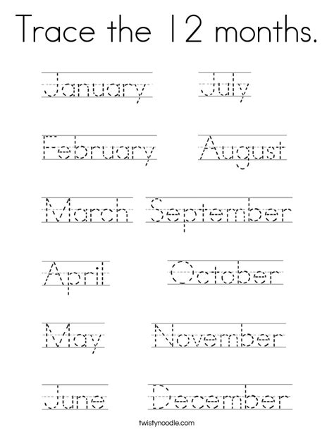 the trace practice tracing the months of year pictures to pin on