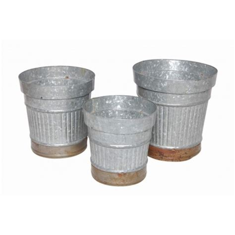 galvanized steel planter set of 3