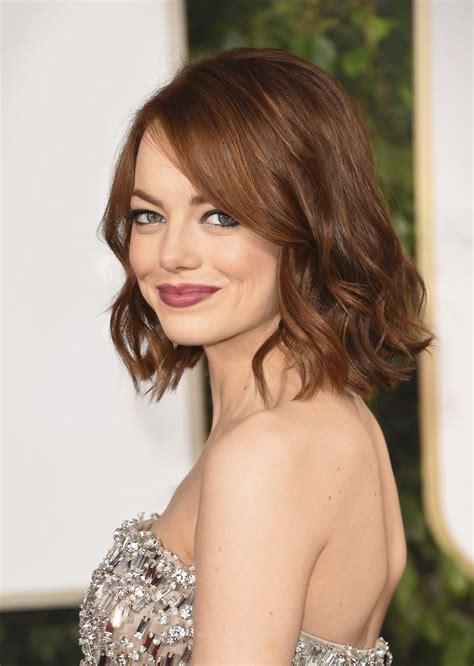 emma stone angled lob 17 best images about hairstyles on pinterest a blunt