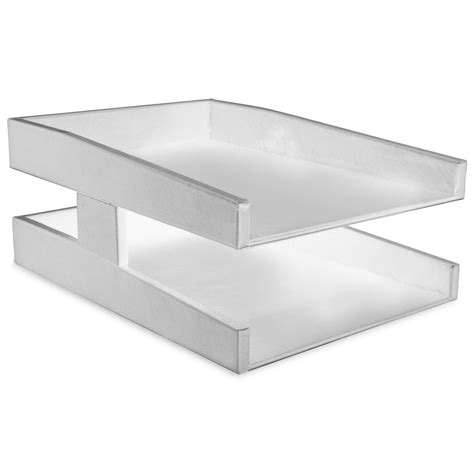 Office Desk Tray White Leather Letter Tray Sized Inbox Outbox Organization Prestige Office
