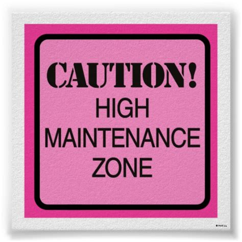 8 Signs You Are A High Maintenance by High Maintenance Zone Print Zazzle