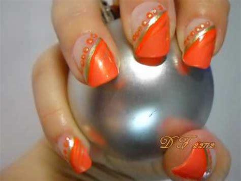 orange pattern nails orange diagonal and dots design nail art with tutorial video