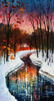 winter palette knife painting on canvas by