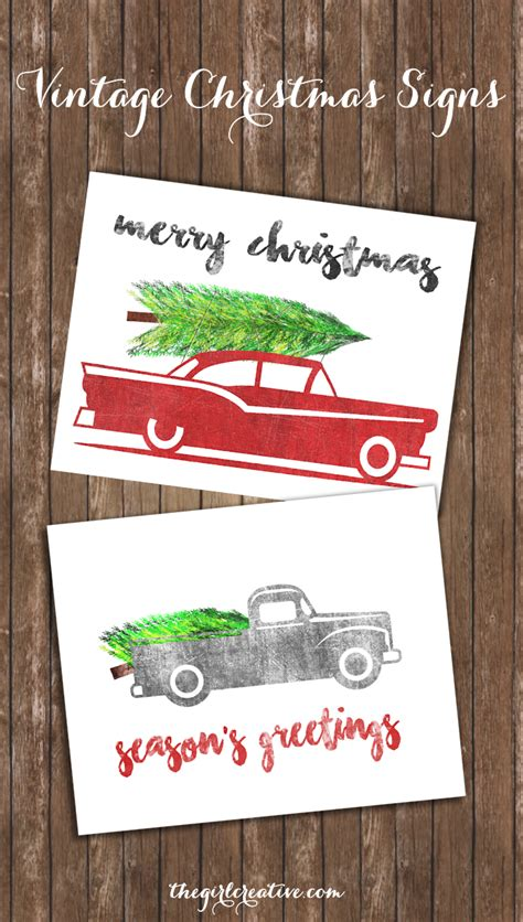 free download simplify your holiday with these printable free vintage christmas signs the girl creative