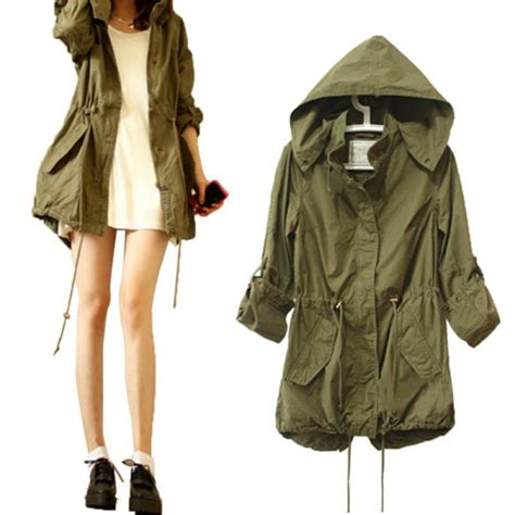 Fashion Jacket Parka fashion hoodie drawstring army green trench