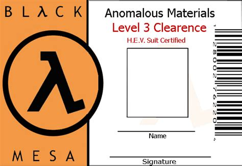 black mesa id card template black mesa id template by wesker on deviantart