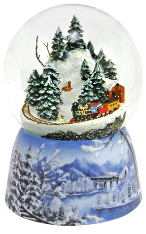 mountain train christmas musical snowdome from snowdomes