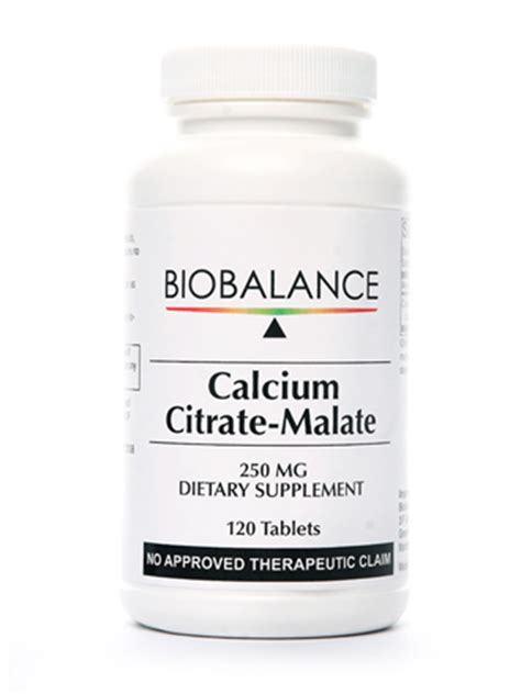 Wellness Calcium Citrate 120 calcium citrate malate 250mg 120 tablets biobalance
