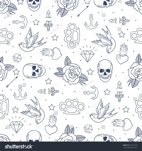 old tattoo seamless pattern cartoon stock vector