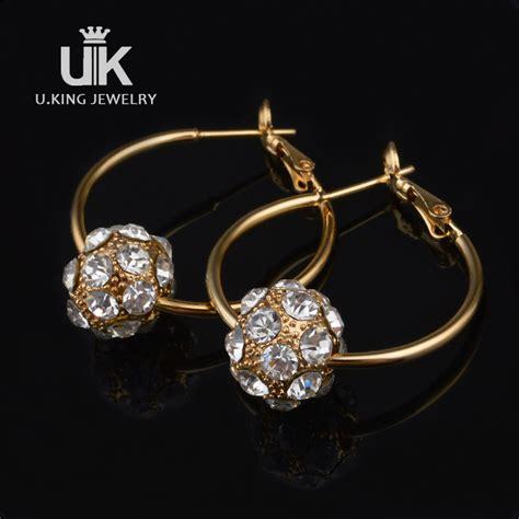 Rhinestone 18k Gold Earring fashion 18k gold hoop earring gold rhinestone loop