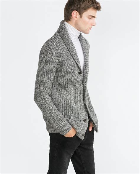 Twist Cardigan zara chunky twist knit cardigan in gray for grey lyst