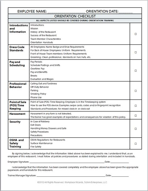 new employee orientation checklist templates sample resume for