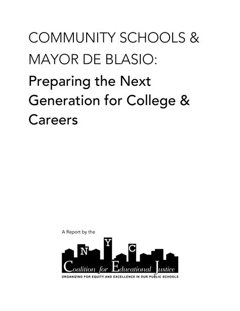 the next generation preparing today s for an extraordinary future books community schools mayor de blasio preparing the next