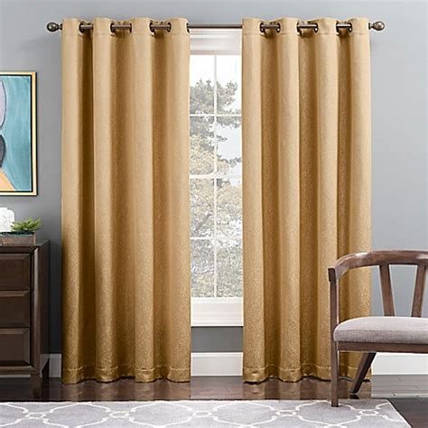 Gold Grommet Curtains Buy Tribeca 95 Inch Grommet Top Lined Window Curtain Panel In Gold From Bed Bath Beyond