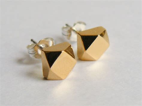 large gold faceted cube stud earrings 187 hook matter