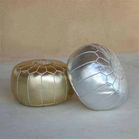 Gold Pouf Ottoman Moroccan Pouf Ottoman Metallic Gold The Gilded Pear