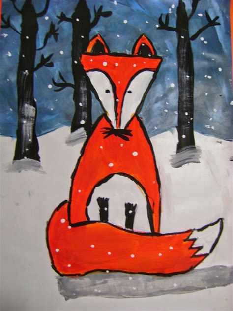 fifth grade winter art projects 5th grade winter fox paintings