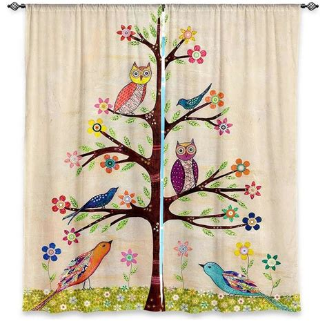 Bird Window Curtains Window Curtains Lined By Sascalia Owl Bird Tree 2 Contemporary Curtains By Dianoche Designs