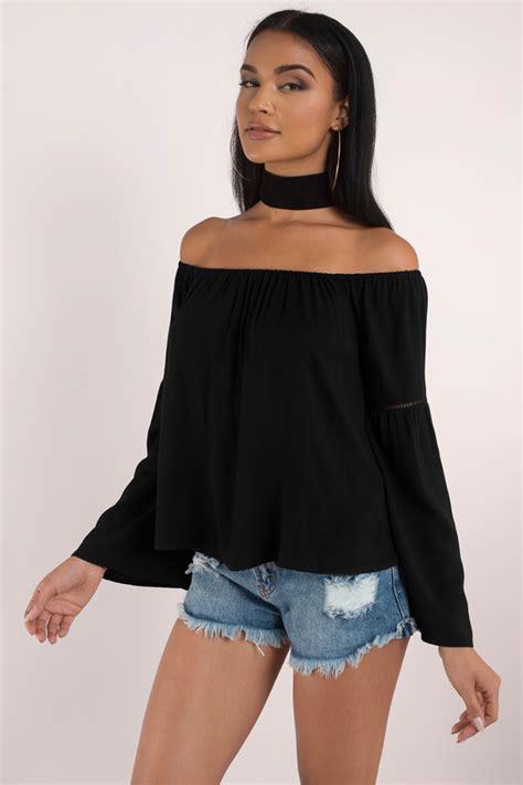 best black the shoulder tops crop tops sweaters more tobi