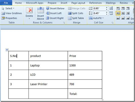 Word Table by Word 2010 Insert Tables Formulas