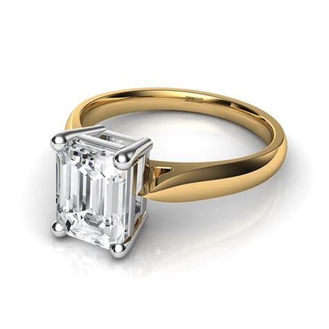 tapered cathedral emerald cut solitaire engagement
