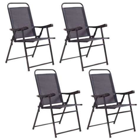 Sling Folding Chairs - 4pcs folding sling chairs with armrest textiliene outdoor