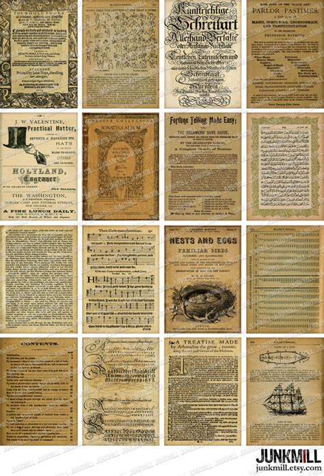 book pages to print book pages digital printable collage sheet 16 vintage