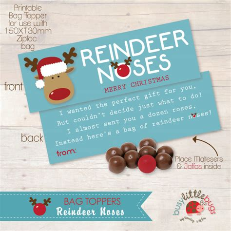free printable reindeer noses poem 8 teacher gift ideas using printable bag toppers the
