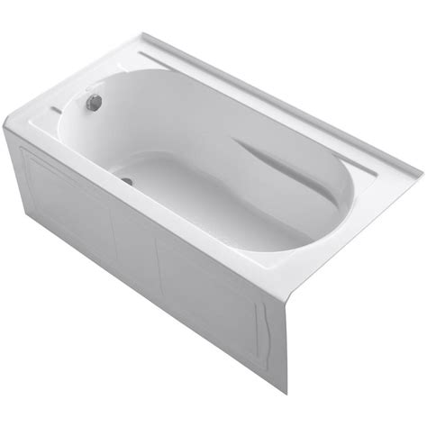 Soaking Bathtub by Kohler Memoirs 5 Ft Left Drain Alcove Cast Iron Soaking Tub In White K 721 0 The Home Depot